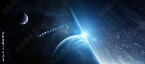 Foto Murales Sunrise over distant planet system in space 3D rendering elements of this image furnished by NASA