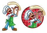 happy chef throw the pizza dough