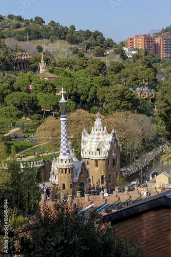 Foto op Canvas Barcelona aerial view of Park Güell, Barcelona