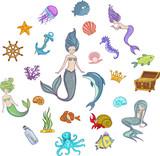 Under The Sea  Mermaid Character Set Wall Sticker