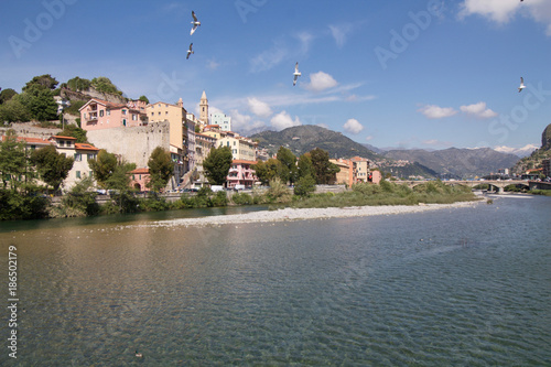 Fotobehang Liguria ventimiglia landscape in springtime with birds flying in the sky