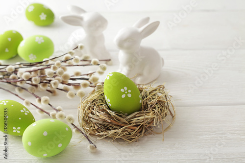 easter eggs and flowers - 186504335