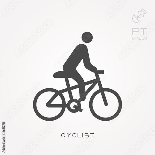 Silhouette icon cyclist