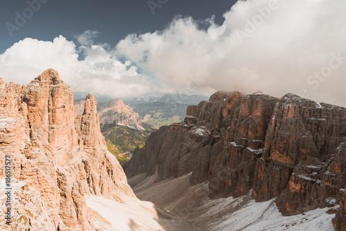 Fotobehang Chocoladebruin mountains Sella Ronda Dolomites Italy