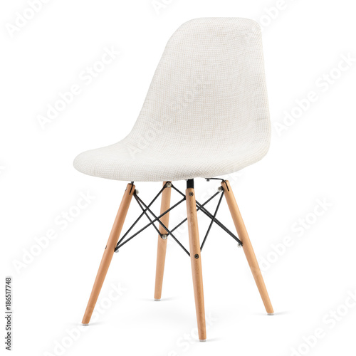 Nowożytnego projekta kuchenny krzesło odizolowywający na białym tle