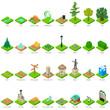 Park nature elements icons set, isometric style