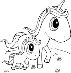 Cute Unicorns Vector Illustration Art