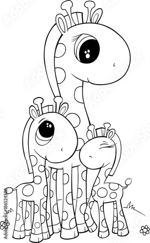 Fotobehang Cartoon draw Cute Giraffe Vector Illustration Art