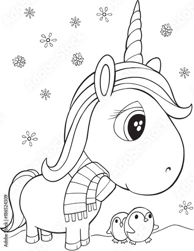 Foto op Canvas Cartoon draw Winter Holiday Unicorn and Penguins Vector Illustration Art