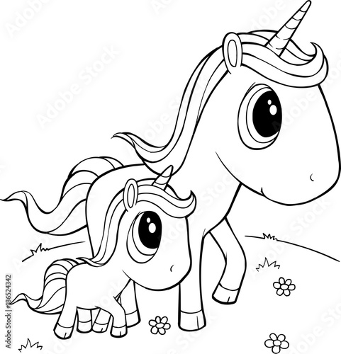 Foto op Canvas Cartoon draw Cute Unicorns Vector Illustration Art