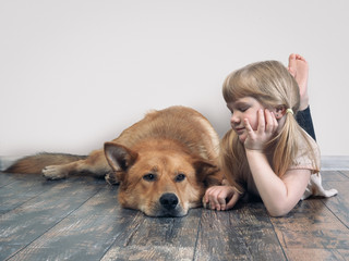 Child and a big dog