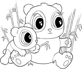 Cute Pandas Vector Illustration Art