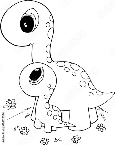 Fotobehang Cartoon draw Cute Dinossaurs Vector illustration Art