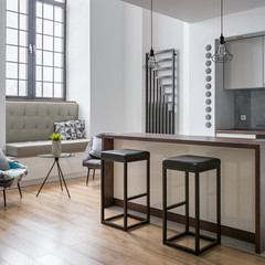 Kitchen island and bar stools