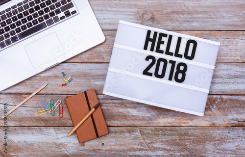 Hello 2018 office desk flat lay - 186535515