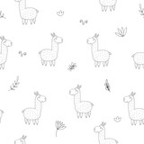 Cute seamless pattern with funny llama. vector illustration - 186537798