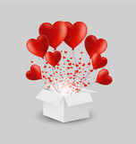 Vector white gift box with red heart balloons. Greeting gift for happy valentine's day - 186538360