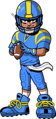 Black African American Football Player cartoon clipart © KennyK.com