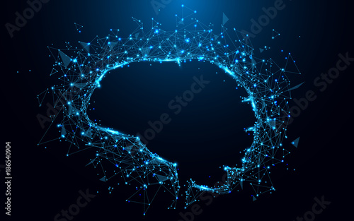 Abstract brain form lines and triangles, point connecting network on blue background. Illustration vector