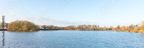 Fotobehang Lichtblauw panorama lake with blue sky