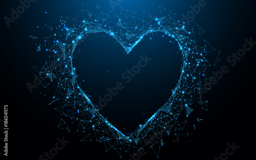Abstract Heart icon form lines and triangles, point connecting network on blue background. Illustration vector