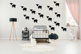 Child's bedroom with sheep stickers - 186547518