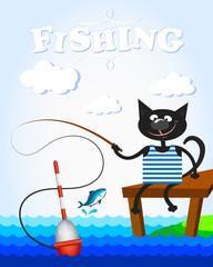 Black cat on fishing