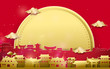 Happy Chinese new year greetings. Gold and red Chinese village with big moon background