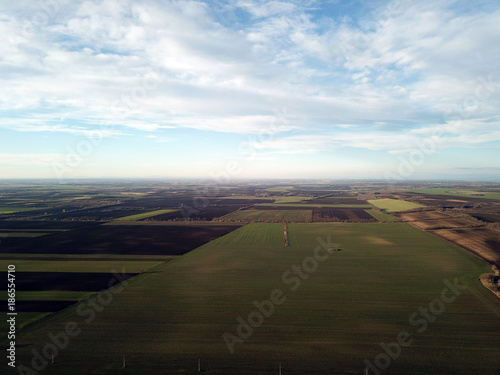 Fotobehang Blauwe hemel Aerial photo of bio farmland