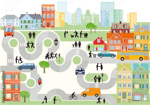 Fridge magnet Stadt Panorama mit Straßenverkehr und Fußgänger
