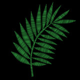 Green palm leaf embroidery stitches imitation on the black background
