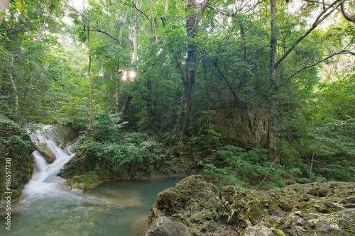 Fotobehang Olijf タイ・カンチャナブリ・エラワンの滝・自然