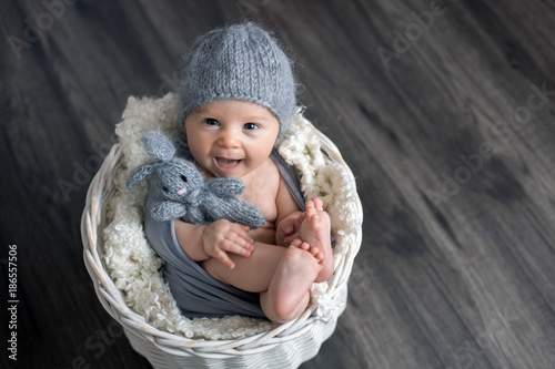 Sweet baby boy in basket, holding and hugging teddy bear, looking curiously at camera - 186557506