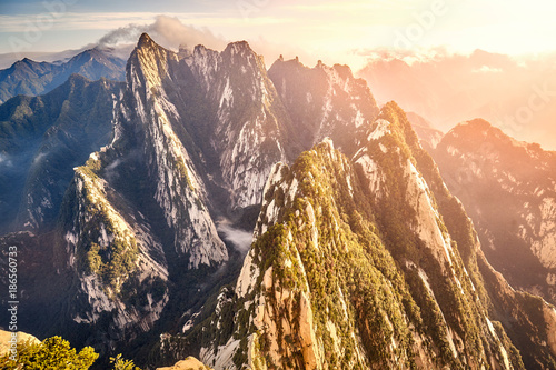 Salmon View from Mount Hua (Huashan) South Peak, one of the most popular travel destinations in China at sunset, Shaanxi Province.