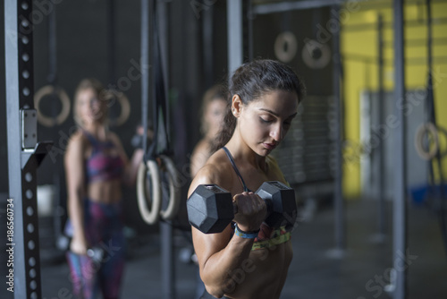 Fridge magnet Women training biceps in gym with ambient light