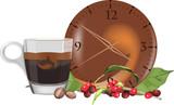 orario e tazzina del caffè con bacche
