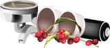 cialde e manico porta cialde con bacche di caffè