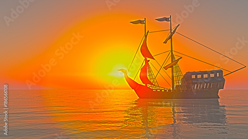 Poster Oranje eclat old ship in sea sunset
