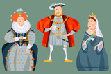 History of England. British historical figures drinking tea. Queen Elizabeth I, King Henry VIII, Queen Victoria. - 186567198