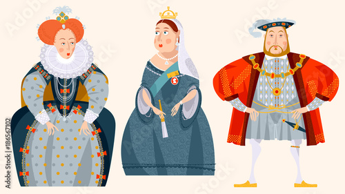 History of England. Queen Elizabeth I, King Henry VIII, Queen Victoria.