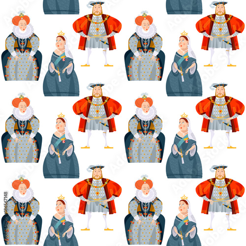 History of England. Queen Elizabeth I, King Henry VIII, Queen Victoria. Seamless background pattern.