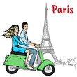 couple driving scooter in Paris - 186570389