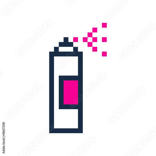 Poster Graffiti pixel spray can pixel grafitti art cartoon retro game style