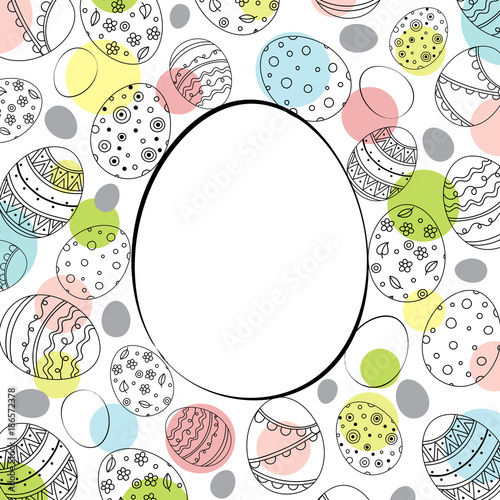 Vector Easter festive background with egg shape frame and colorful confetti. Doodle easter eggs with stripes, dots, flowers, leaves. - 186572378