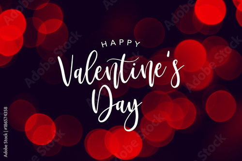 Happy Valentine S Day Celebration Text Over Red Duotone Bokeh Lights
