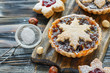 Tartlets with dried fruits, orange jam and nuts.