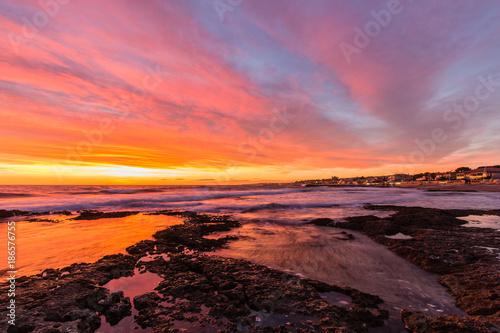 Poster Oranje eclat sunset above the Mediterranean Sea