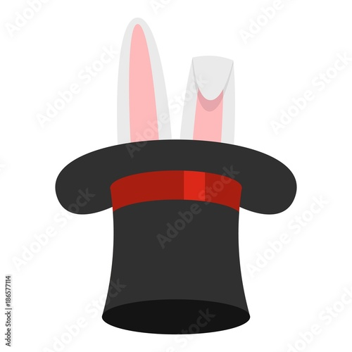 Hat with rabbit icon. Cartoon illustration of hat with rabbit vector icon for web. - 186577114
