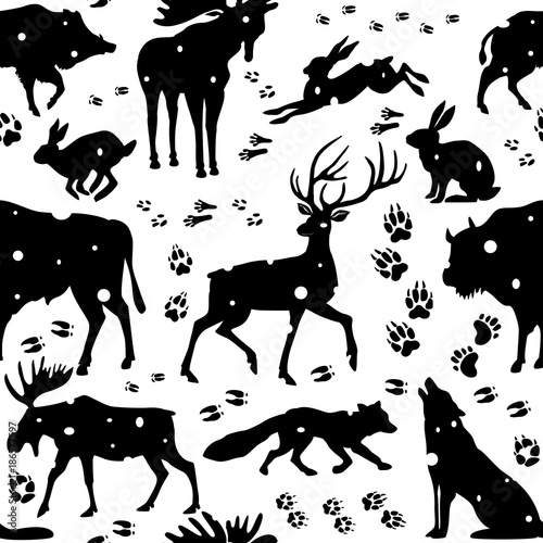 Seamless pattern with wild animals - 186577597