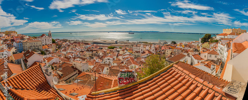 Portugal Lisbon panorama view of the city, roof tops from high point - 186579580